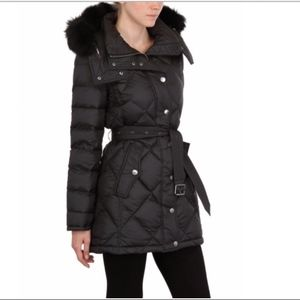 Burberry Fur Hooded Down Jacket-Large